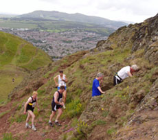 Runners on the ascent of Arthur's Seat
